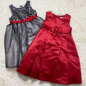 Pair of Girl's Formal Dresses Black Red Size 5/6